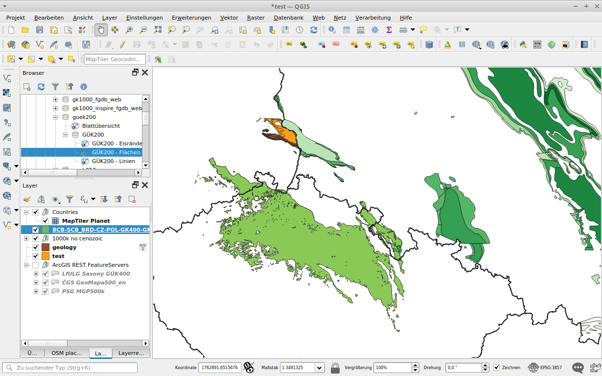 poland geological map without cenozoic 1:1000.000 in QGIS: filtered for Cretaceous only